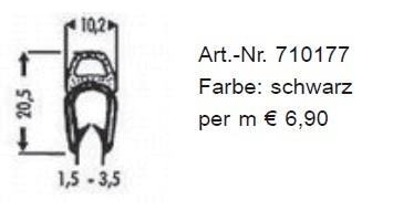 Kombinations-Abdichtprofile aus PVC 20,5 x 10,2