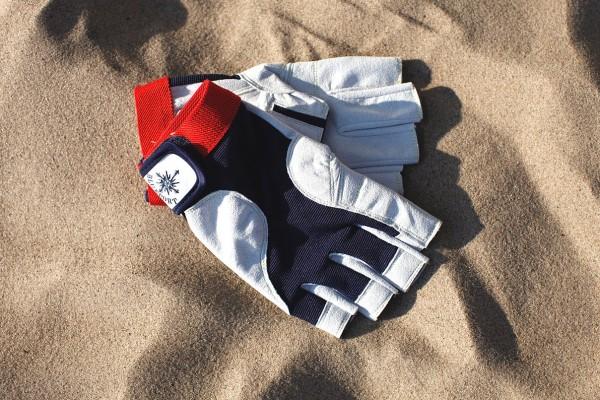 "Professional Handschuhe ""Amara"" halbfinger navy/rot"