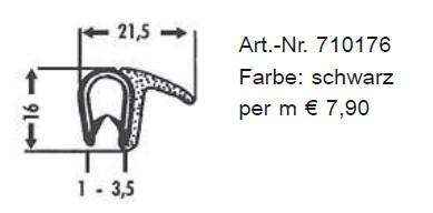 Kombinations-Abdichtprofile aus PVC 16 x 21,5