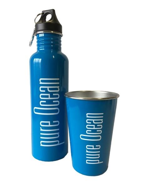 pure Ocean Edelstahl Trinkflaschen oder Becher