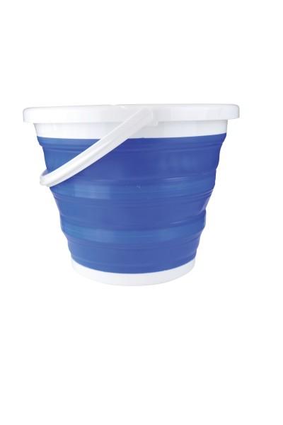 Silikon Falteimer blau 10 Liter, mit Verstärkung