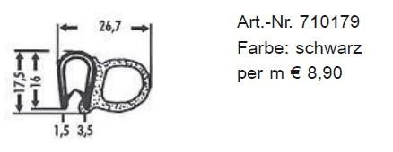 Kombinations-Abdichtprofile aus PVC 17,5 x 26,7